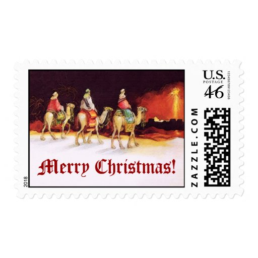 Wisemen Traveling on Camelback, Merry Christmas Stamp