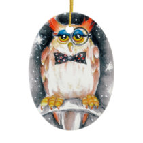 wisey owl ceramic ornament