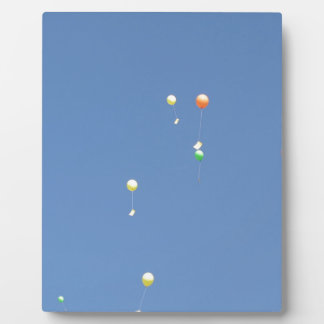Wish balloons in the blue sky plaque