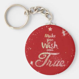 Wish come true basic round button keychain