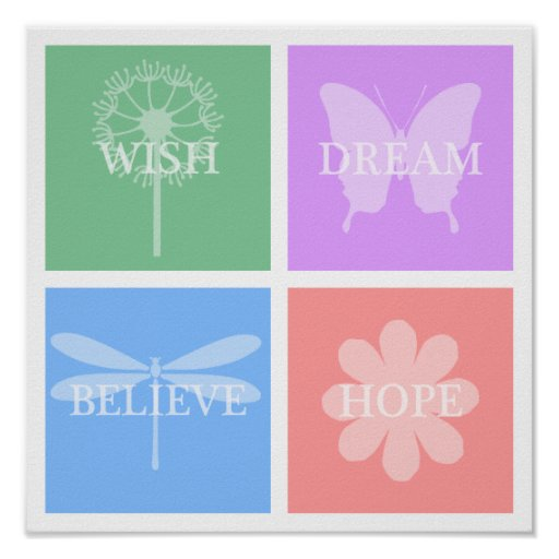 Wish, Dream, Hope, Believe Pastel Patchwork Poster