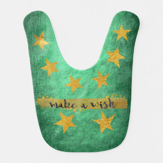 Wish Hollywood Star Shiny Green Gold Baby Baby Bib