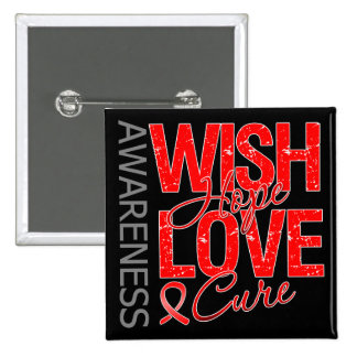 Wish Hope Love Cure AIDS HIV Pinback Buttons