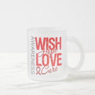 Wish Hope Love Cure AIDS HIV 10 Oz Frosted Glass Coffee Mug
