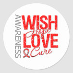 Wish Hope Love Cure Blood Cancer Round Stickers