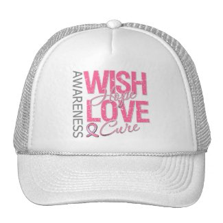 Wish Hope Love Cure Breast Cancer hat