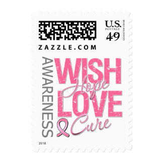 Wish Hope Love Cure Breast Cancer Postage Stamps