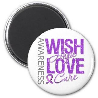 Wish Hope Love Cure Fibromyalgia 2 Inch Round Magnet