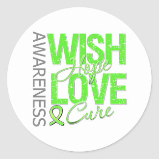 Wish Hope Love Cure Lymphoma Round Stickers