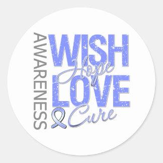 Wish Hope Love Cure Stomach Cancer Round Sticker