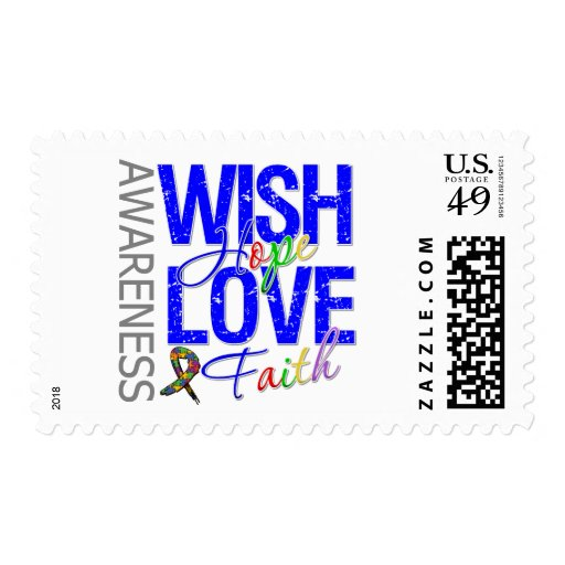 Wish Hope Love Faith Autism Postage Stamps
