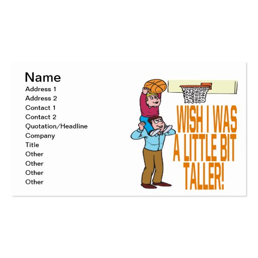 Wish I Was Taller Double-Sided Standard Business Cards (Pack Of 100)