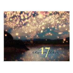 Wish Lanterns Dream Forest - Table Number Card Postcard