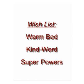 Wish List Postcard