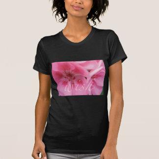 Wish Pink Geranium Flower Black Fitted T-shirt