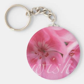 Wish Pink Geranium Flower Key Chain