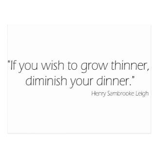 Wish to grow thinner postcard