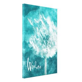 Wish Upon A Dandelion Aqua Blue Canvas Art