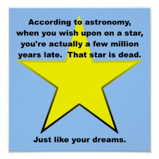 Wish Upon A Star Funny Poster Sign