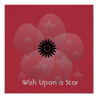 Wish Upon a Star Glossy Silver Flower Red Poster