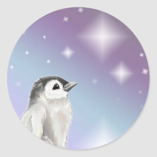 Wish Upon A Star Penguin Chick... Round Stickers