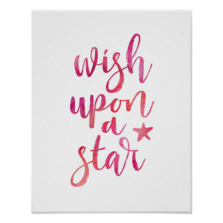 Wish upon a star pink typography poster