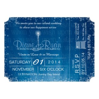 Wish Upon a Star wedding ticket invitation Personalized Invites
