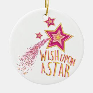 Wish Upon Star Ceramic Ornament