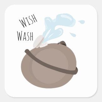 Wish Wash Square Stickers