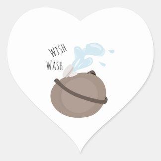 Wish Wash Heart Stickers