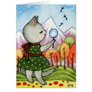 Wish - Whimsical Cat Art Greeting Card