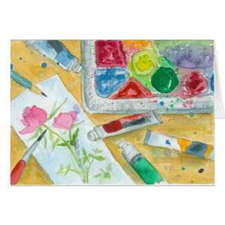 Wish You A Lovely Day Watercolor Painting Palette Card