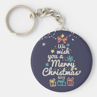Wish you a Merry Christmas Basic Round Button Keychain