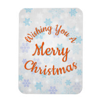 Wish You A Merry Christmas Blue Snowflakes Pattern Magnet