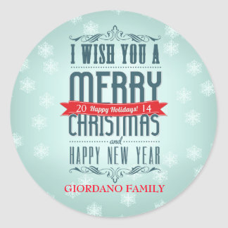 Wish You A Merry Christmas Happy Holidays Classic Round Sticker