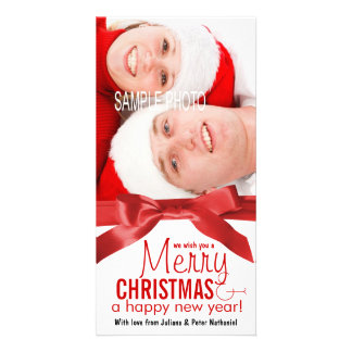 Wish You a Merry Christmas Holiday Couple Photo Photo Card