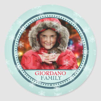 Wish You A Merry Christmas Photo Frame Classic Round Sticker