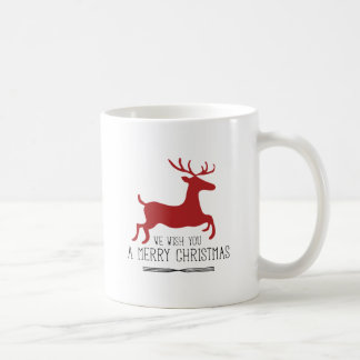 Wish You a Merry Christmas | Red Reindeer Coffee Mug