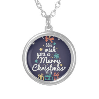Wish you a Merry Christmas Round Pendant Necklace