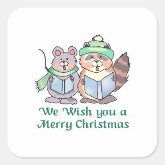 WISH YOU A MERRY CHRISTMAS SQUARE STICKER