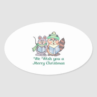 WISH YOU A MERRY CHRISTMAS OVAL STICKER