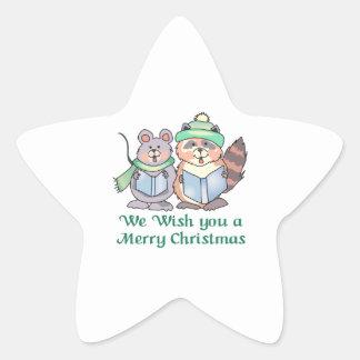 WISH YOU A MERRY CHRISTMAS STAR STICKER