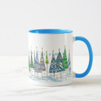Wish You A Very Merry Christmas Holiday Trees Art Mug