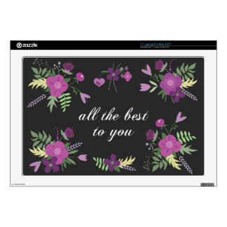 "Wish You All The Best - Purple Flower Print 17"" Laptop Decals"