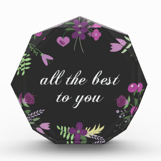 Wish You All The Best - Purple Flower Print Award