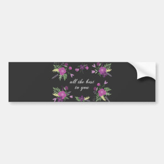 Wish You All The Best - Purple Flower Print Bumper Sticker