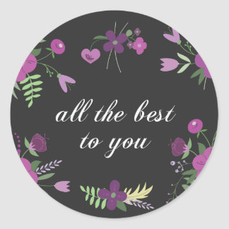 Wish You All The Best - Purple Flower Print Classic Round Sticker
