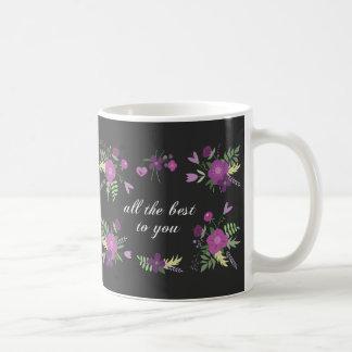 Wish You All The Best - Purple Flower Print Coffee Mug