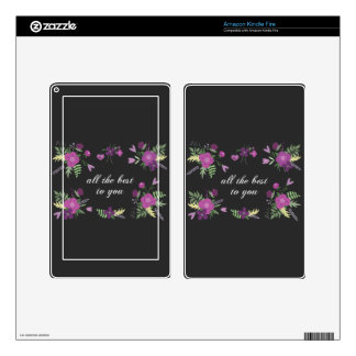 Wish You All The Best - Purple Flower Print Kindle Fire Decals