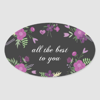 Wish You All The Best - Purple Flower Print Oval Sticker
